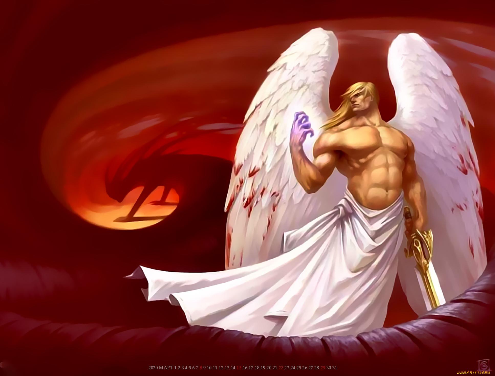 календари, фэнтези, мужчина, крылья, ангел, оружие, calendar, 2020